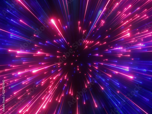 3d render, red blue fireworks, big bang, galaxy, abstract cosmic background, cel Canvas Print