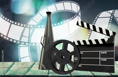 Fotografia  Movie clapper board and film tapes