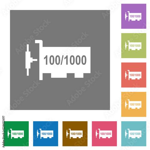 Fotografie, Obraz  Gigabit ethernet network controller square flat icons