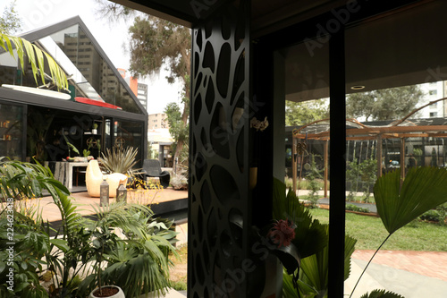 View of a room and patio at Casacor Peru in San Isidro
