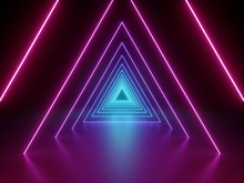 3d Render, Ultraviolet Neon Triangular Portal, Glowing Lines, Tunnel, Corridor, Virtual Reality, Abstract Fashion Background, Violet Neon Lights, Arch, Pink Blue Triangle, Spectrum, Laser Show