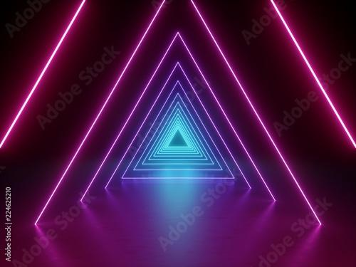 3d render, ultraviolet neon triangular portal, glowing lines, tunnel, corridor, Canvas Print