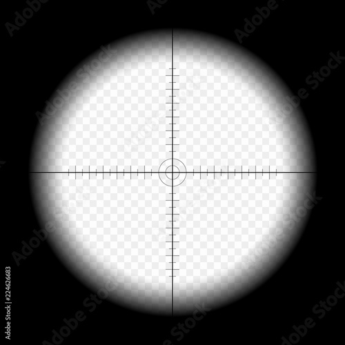 Fotografía  Sniper scope template, with measurement marks on isolated background