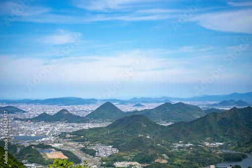 Deurstickers Blauw Landscape of the sanuki plain in Kagawa,Shikoku,Japan