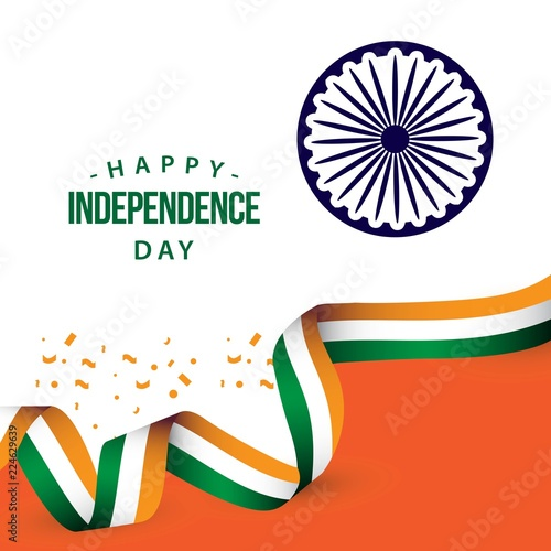 Foto Happy India Independence Day Vector Template Design Illustration