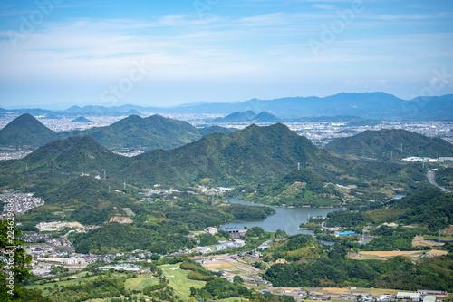 Fotobehang Blauwe hemel Landscape of the sanuki plain(Fuchu lake) in Kagawa,Shikoku,Japan