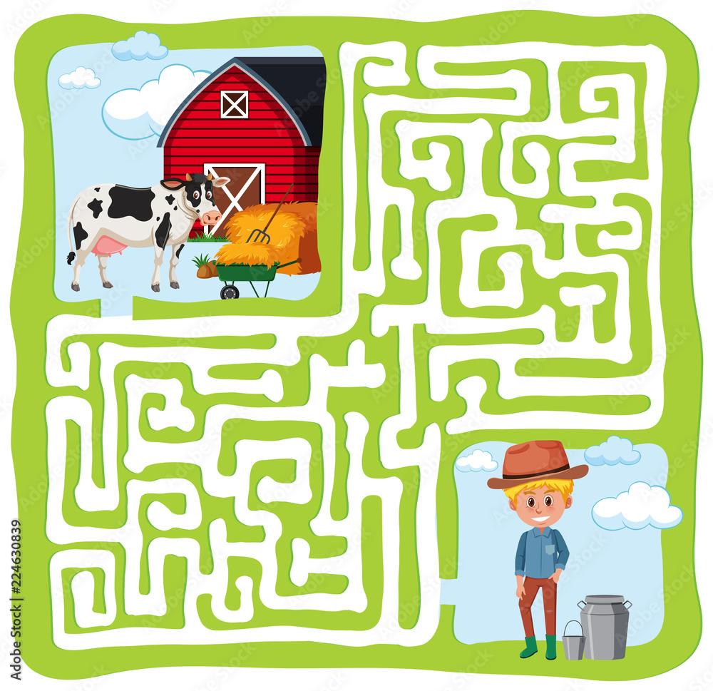 Fototapeta Farm maze fun concept