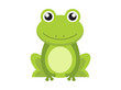Cute green frog cartoon character isolated on white background