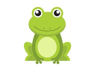 Postać z kreskówki ładny zielony żaba na białym tle