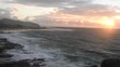Sunrise at Sandy beach with a panoramic view in Honolulu on the island of Oahu, Hawaii.