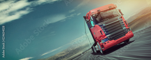 The truck running on the road speed.