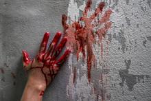 Bloody Hand Print On Wall, Cri...