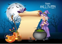 Cartoon Witch Stirring Magic Potion With Halloween Background