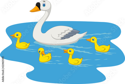 Canvas Prints River, lake Cartoon swan family swimming in the pond