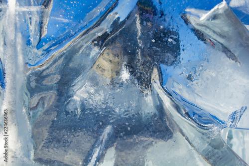 Deurstickers Poolcirkel The texture of the ice. The frozen water.Winter background