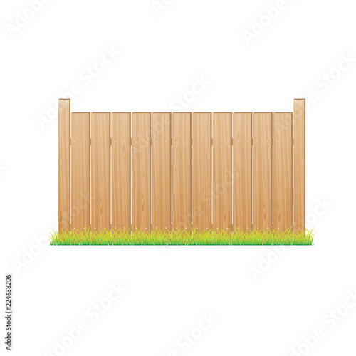 Foto  Wooden fence. section. vector illustration