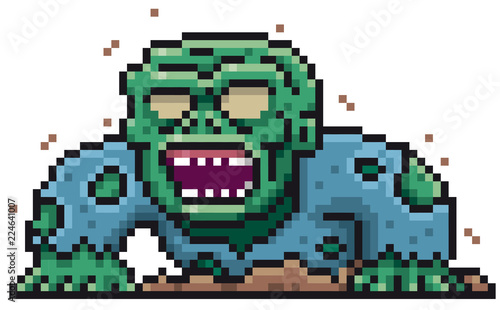 Photo sur Toile Pixel Vector illustration of Cartoon Zombie - Pixel design