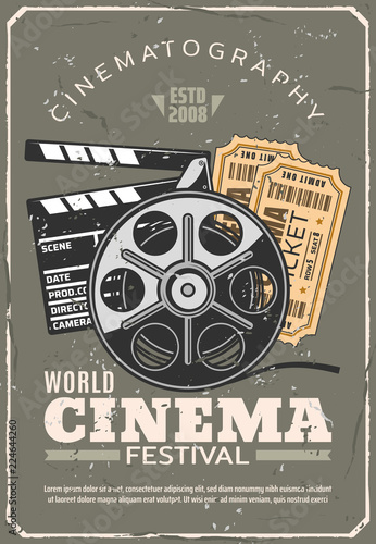 Cinema festival retro poster, film and tickets Canvas Print