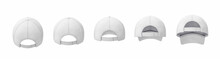 3d Rendering Of Five White Baseball Caps Shown In One Line In A Back View In Different Angles.