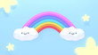Cute clouds and rainbow. 3d rendering picture.