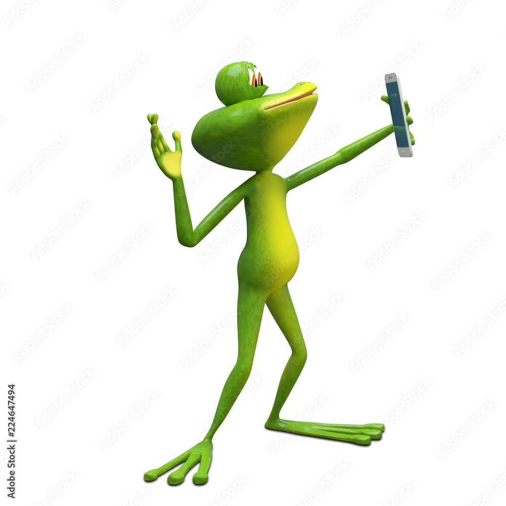 3D Illustration Frog Makes Selfi