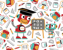 Seamless Pattern Vector With Funny Robots, Back To School Theme, Students Study Equipment