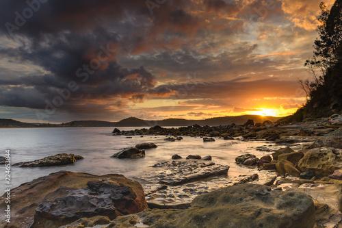 Aluminium Prints Salmon Stormy Sunrise Seascape