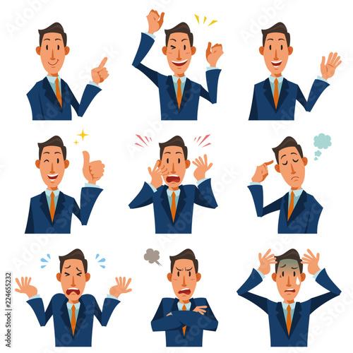 Obraz na plátně  スーツを着た男性のバストアップ、様々な表情9種類