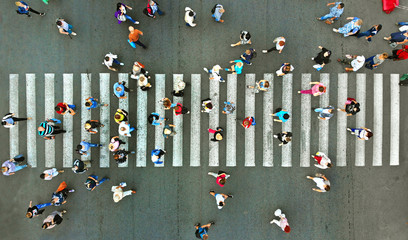 Pedestrian crossing top view. Crosswalk aerial from drone.