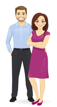 Couple Of Young People. Man And Woman Isolated Vector Illustration