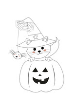 Coloring Page, Halloween Pumpkin And Kitten