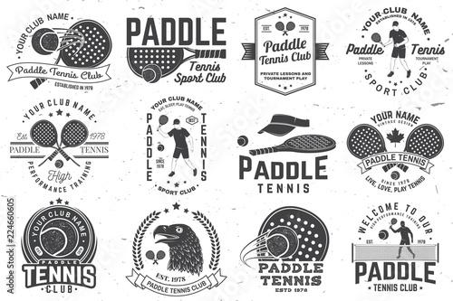 Photo  Set of Paddle tennis badge, emblem or sign