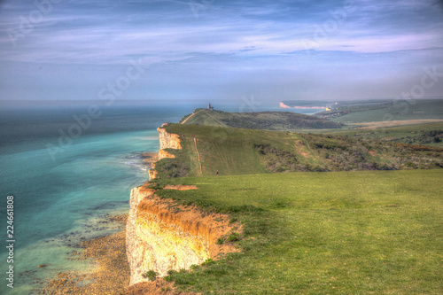 Tuinposter Kust Coast path between Beachy Head and Seven Sisters coastline in hdr