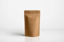 Craft Paper Pouch Bag Front View Isolated On White Background. Packaging Template Mockup Collection. With Clipping Path Included.photo In High Resolution