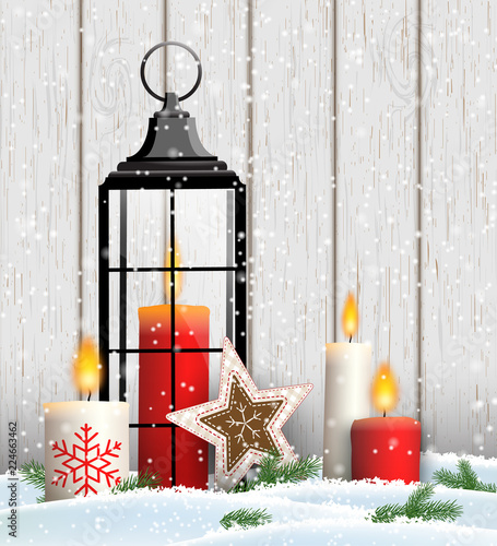 Photo  Christmas still-life with candles and old lantern