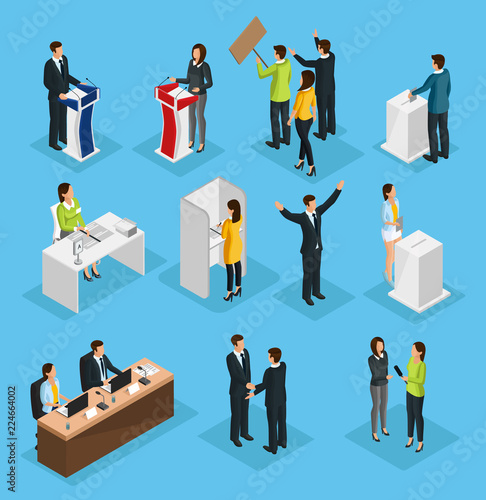Valokuva  Isometric People Election Set