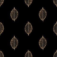 NaklejkaTransparent gold skeleton leaves autumn seamless pattern