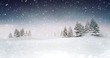 Leinwanddruck Bild - winter seasonal landscape scenery at snowfall at evening, snowy calm nature 3D illustration render