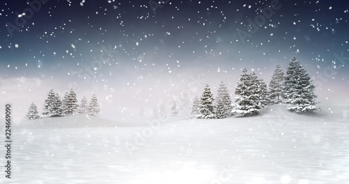 winter seasonal landscape scenery at snowfall at evening, snowy calm nature 3D illustration render
