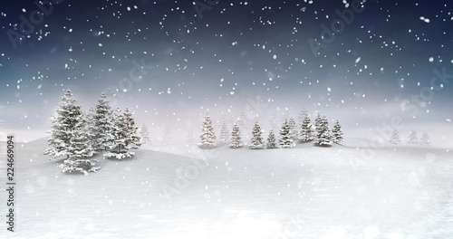 Staande foto Grijs winter seasonal landscape at snowfall at evening, snowy calm nature 3D illustration render