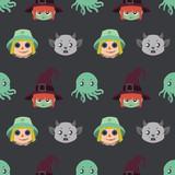 Fototapeta Pokój dzieciecy - Seamless pattern with Halloween character portraits