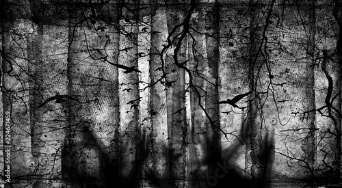 Fotografie, Obraz  Spooky forest with flying birds, dead trees, cobwebs and zombie hands over graves, Halloween party