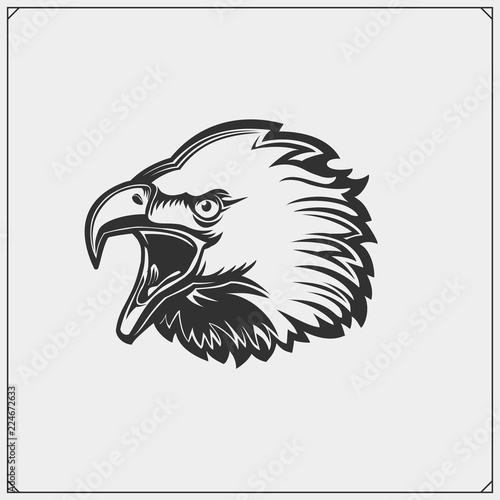 Emblems with Eagle head  Template for sport club design