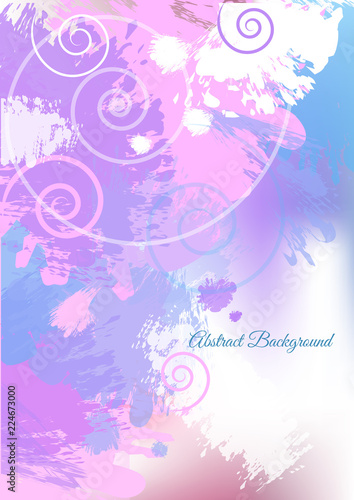 Light blue and lilac abstract background with curly and paint splash