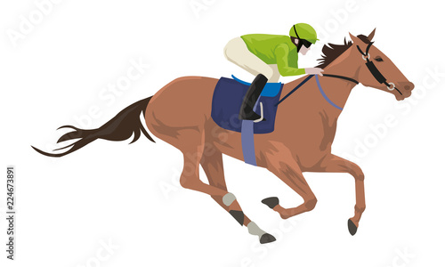 Canvas Print Jockey with horse are doing exercise before horse racing in racetrack