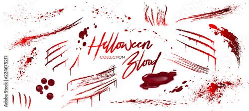 Fotografie, Obraz Blood collection, Happy Halloween decoration, Vector bloody horror drop, drip, splatter, creepy splash, spot,