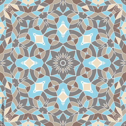 Oriental seamless geometric fabric pattern. Ethnicity ornament. Ornamental background, texture, tiled. Floral elements, mandala decor. Arabic, Islamic, moroccan, asian, indian native african motifs.
