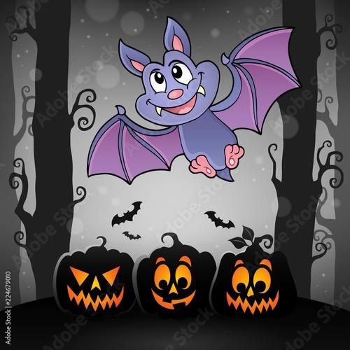 Fotobehang Voor kinderen Cartoon bat topic image 3