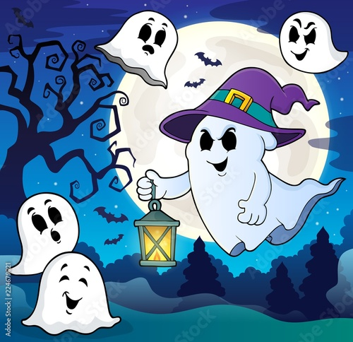 Poster Voor kinderen Ghost with hat and lantern theme 8