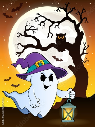 Poster Voor kinderen Ghost with hat and lantern theme 9